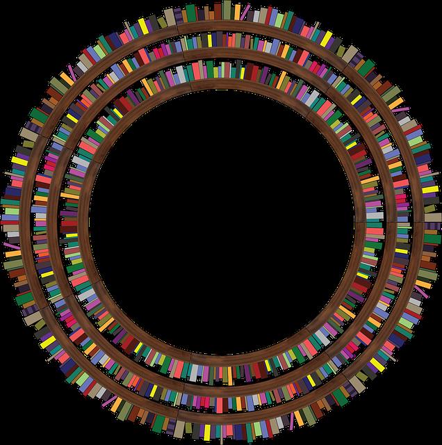 Une bibliothèque de livres en cercle.