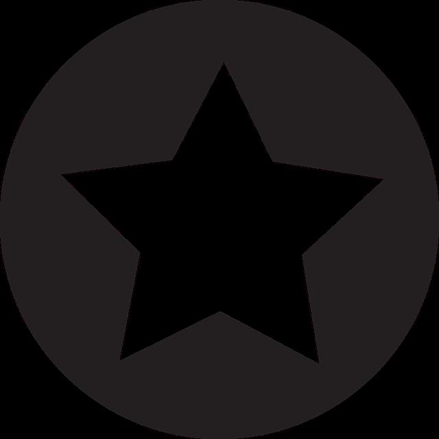 Une étoile blanche sur fond noir rond.
